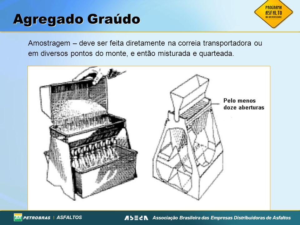 Agregado GraúdoAmostragem – deve ser feita diretamente na correia transportadora ou em diversos pontos do monte, e então misturada e quarteada.