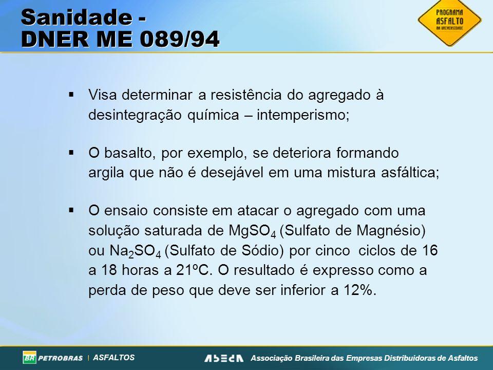 Sanidade - DNER ME 089/94Visa determinar a resistência do agregado à desintegração química – intemperismo;