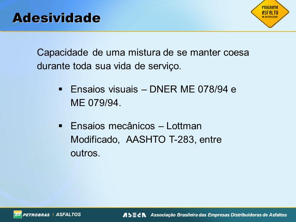 Adesividade Capacidade de uma mistura de se manter coesa durante toda sua vida de serviço. Ensaios visuais – DNER ME 078/94 e ME 079/94.