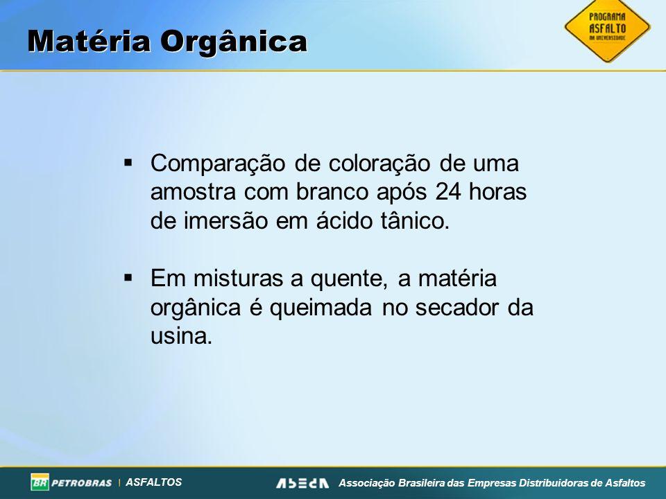 Matéria OrgânicaComparação de coloração de uma amostra com branco após 24 horas de imersão em ácido tânico.