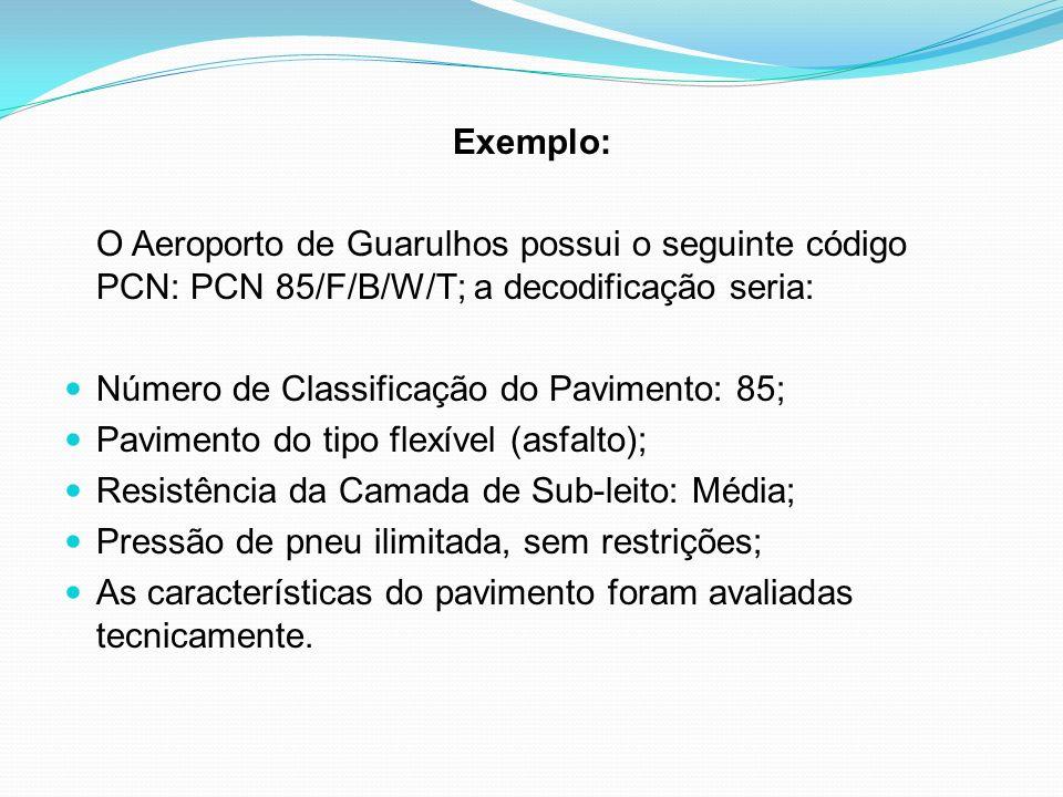 Exemplo: O Aeroporto de Guarulhos possui o seguinte código PCN: PCN 85/F/B/W/T; a decodificação seria: