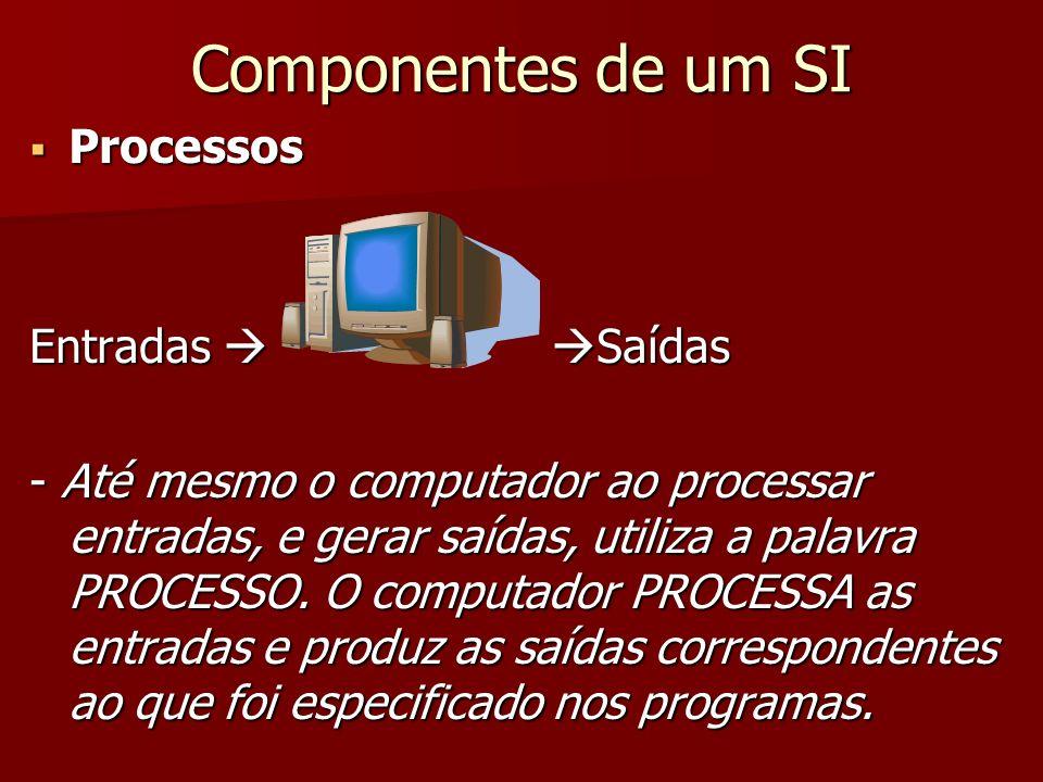 Componentes de um SI Processos Entradas  Saídas