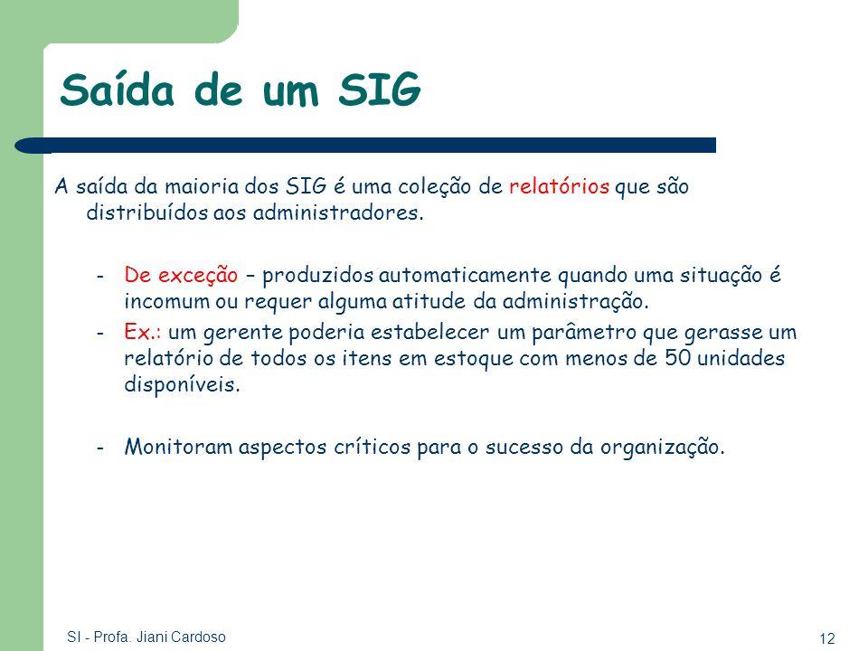 Saída de um SIGA saída da maioria dos SIG é uma coleção de relatórios que são distribuídos aos administradores.