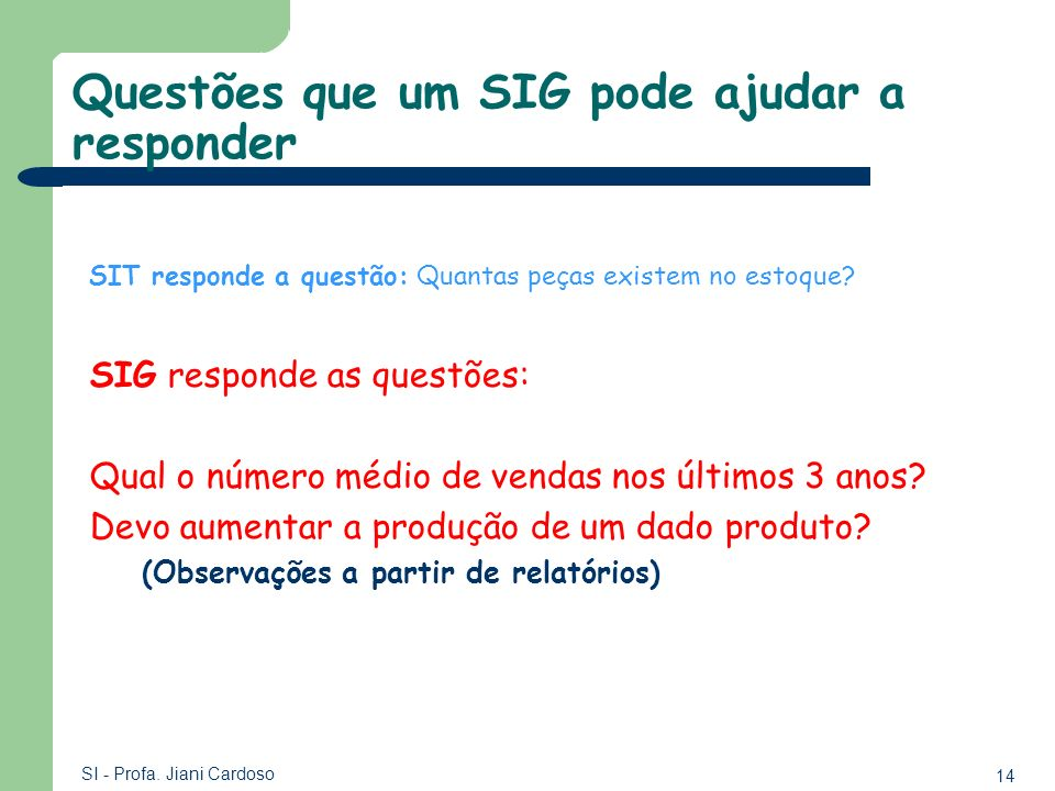 Questões que um SIG pode ajudar a responder