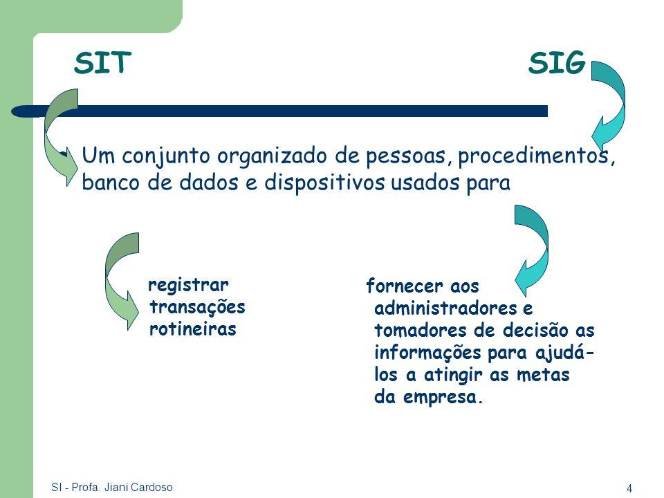 SIT SIG Um conjunto organizado de pessoas, procedimentos, banco de dados e dispositivos usados para.