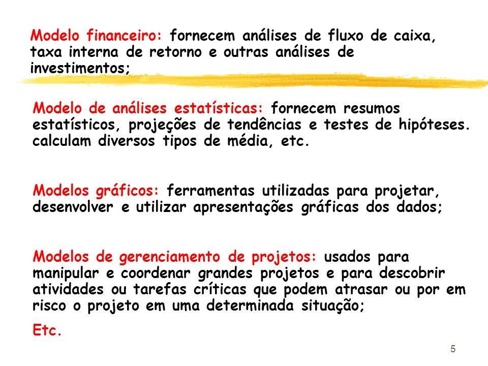 Modelo financeiro: fornecem análises de fluxo de caixa, taxa interna de retorno e outras análises de investimentos;