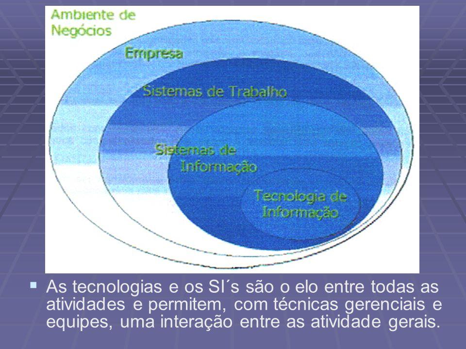 As tecnologias e os SI´s são o elo entre todas as atividades e permitem, com técnicas gerenciais e equipes, uma interação entre as atividade gerais.