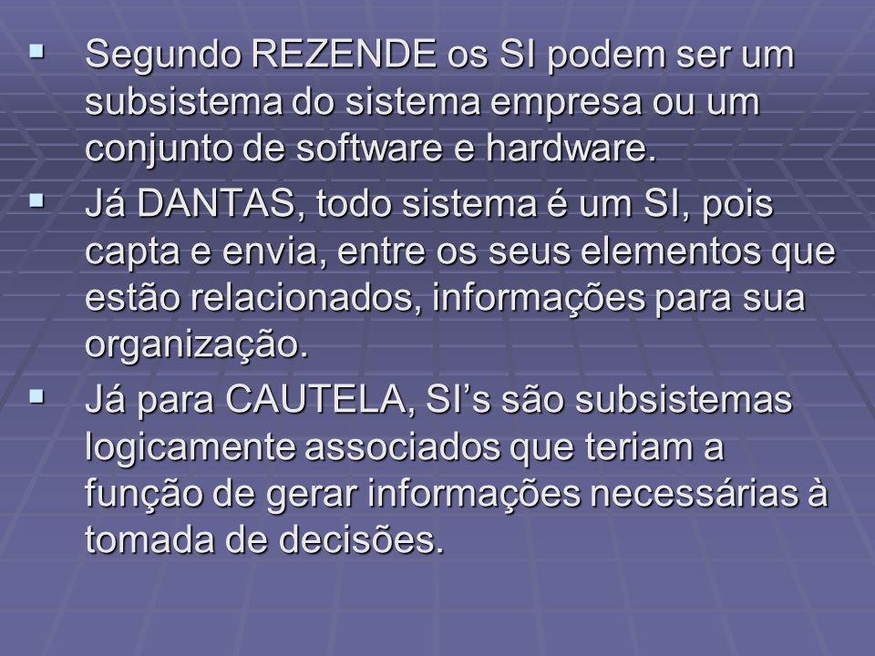 Segundo REZENDE os SI podem ser um subsistema do sistema empresa ou um conjunto de software e hardware.