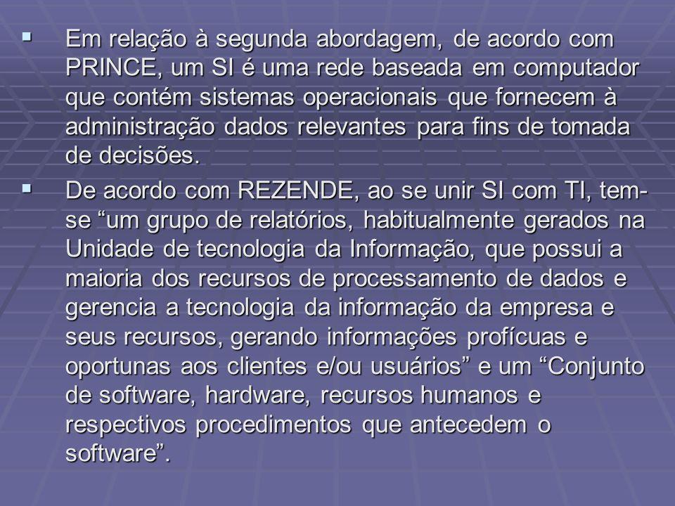 Em relação à segunda abordagem, de acordo com PRINCE, um SI é uma rede baseada em computador que contém sistemas operacionais que fornecem à administração dados relevantes para fins de tomada de decisões.