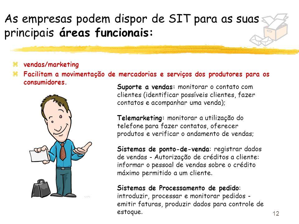 As empresas podem dispor de SIT para as suas principais áreas funcionais: