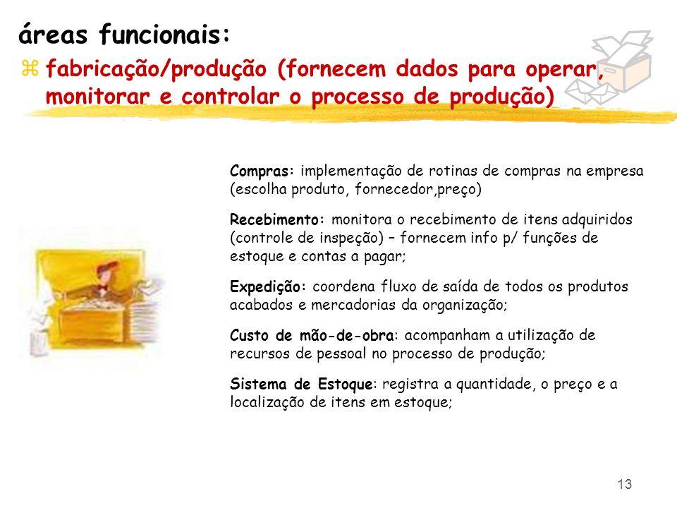 áreas funcionais: fabricação/produção (fornecem dados para operar, monitorar e controlar o processo de produção)