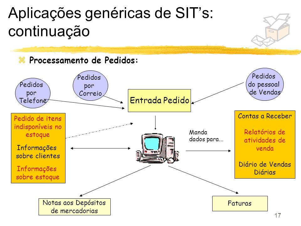 Aplicações genéricas de SIT's: continuação