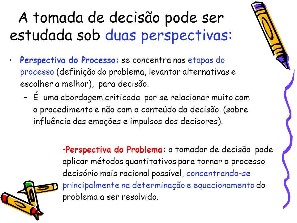 A tomada de decisão pode ser estudada sob duas perspectivas: