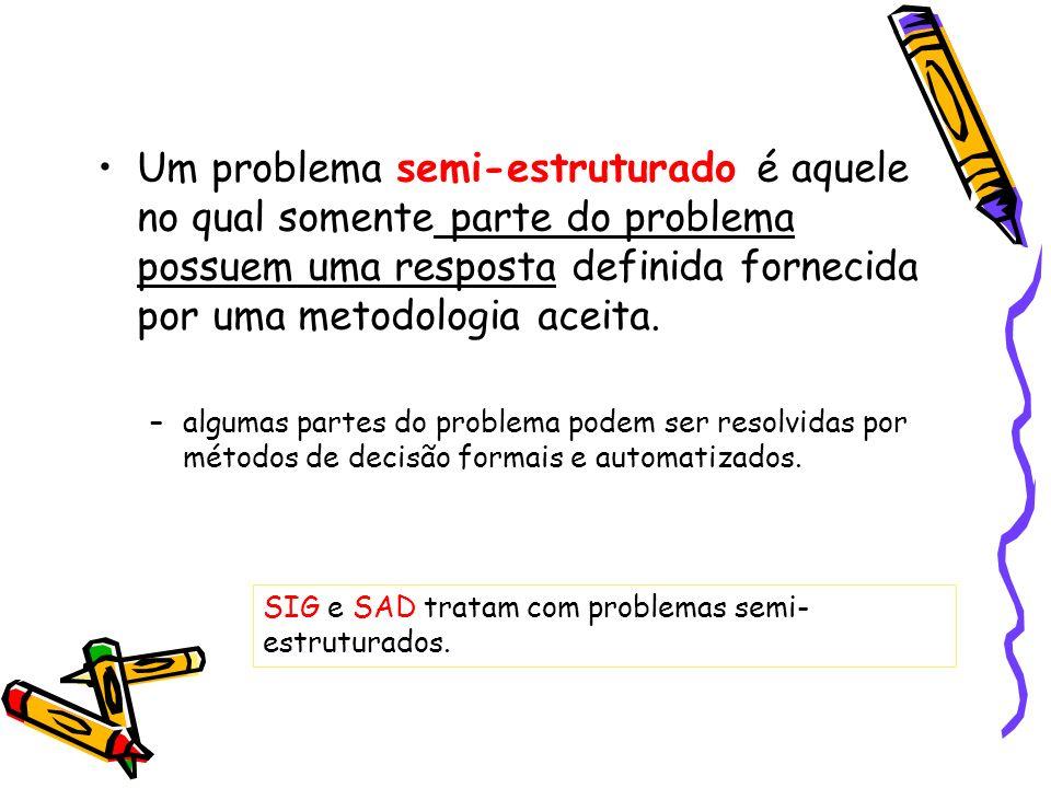 Um problema semi-estruturado é aquele no qual somente parte do problema possuem uma resposta definida fornecida por uma metodologia aceita.