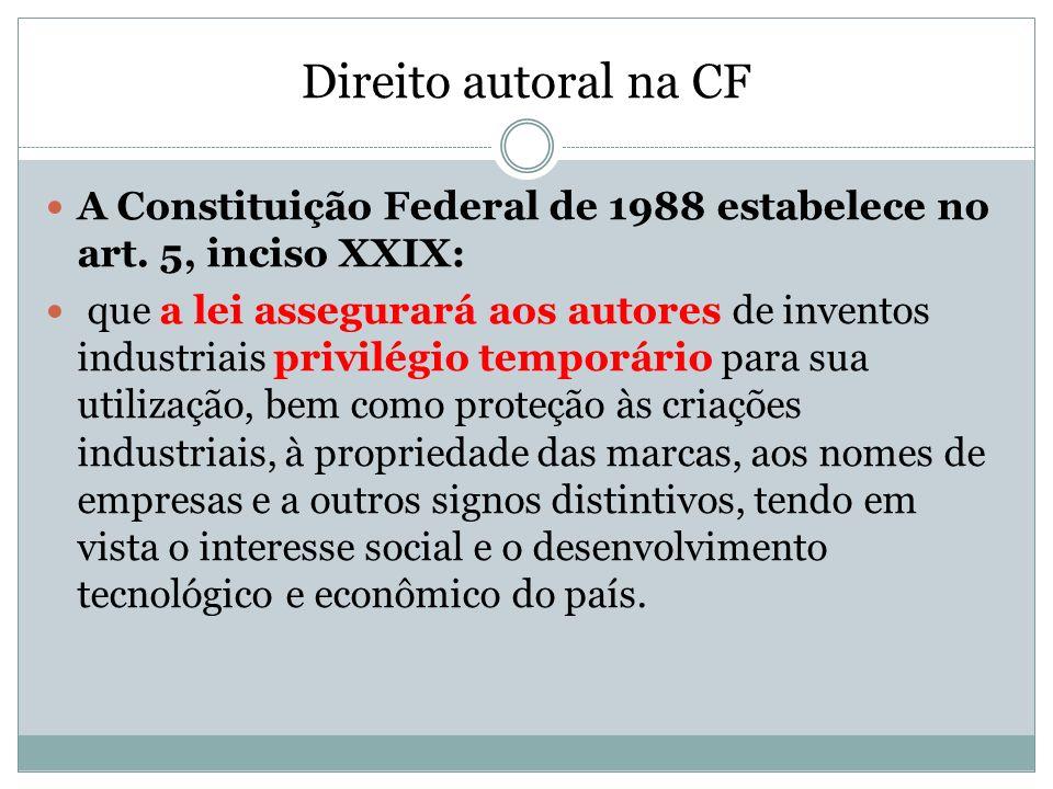 Direito autoral na CFA Constituição Federal de 1988 estabelece no art. 5, inciso XXIX: