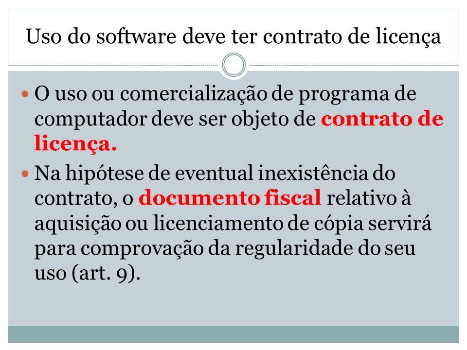 Uso do software deve ter contrato de licença