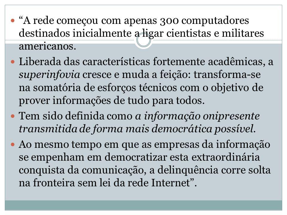 A rede começou com apenas 300 computadores destinados inicialmente a ligar cientistas e militares americanos.