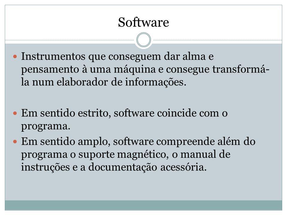 Software Instrumentos que conseguem dar alma e pensamento à uma máquina e consegue transformá-la num elaborador de informações.