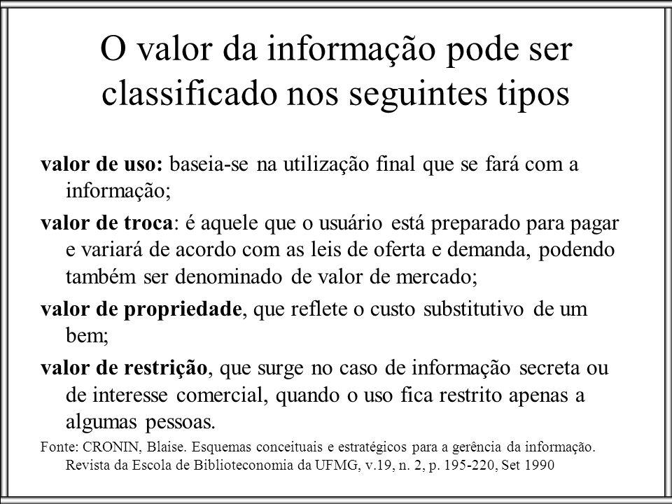 O valor da informação pode ser classificado nos seguintes tipos