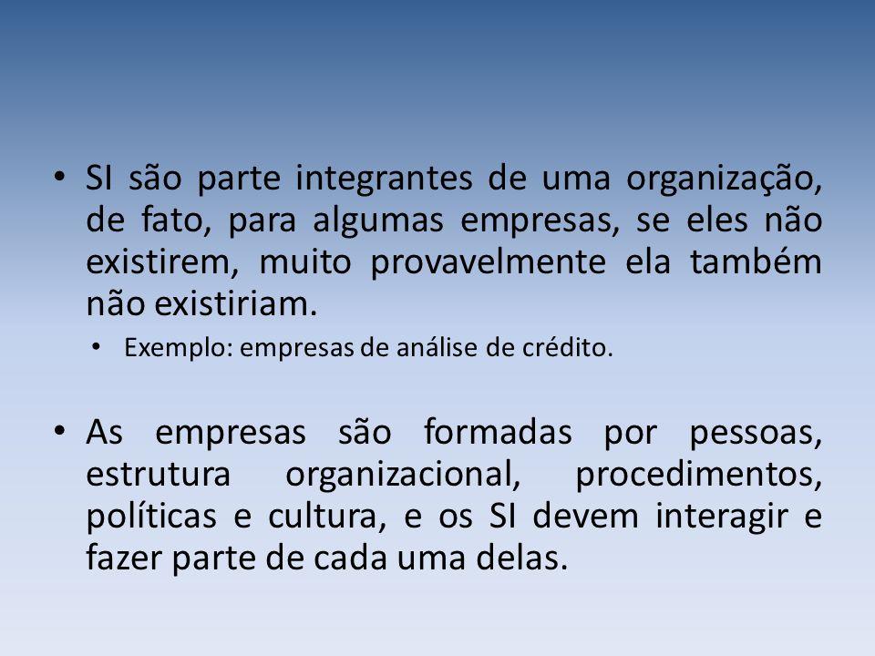 SI são parte integrantes de uma organização, de fato, para algumas empresas, se eles não existirem, muito provavelmente ela também não existiriam.
