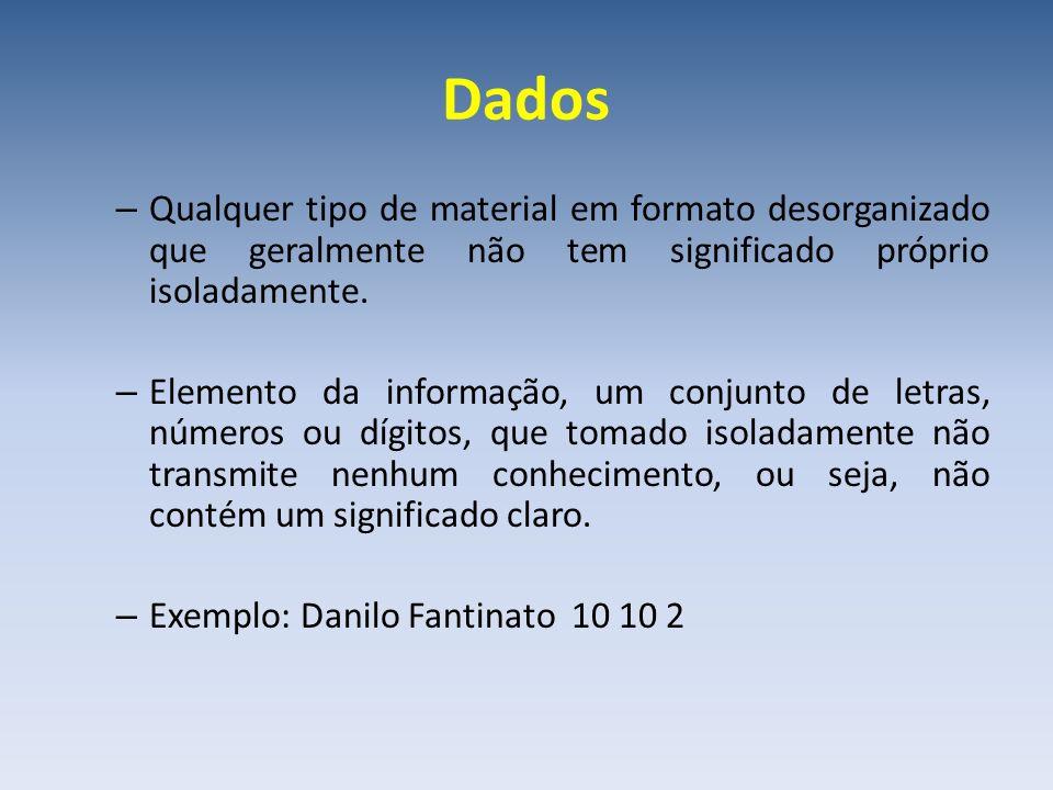 Dados Qualquer tipo de material em formato desorganizado que geralmente não tem significado próprio isoladamente.
