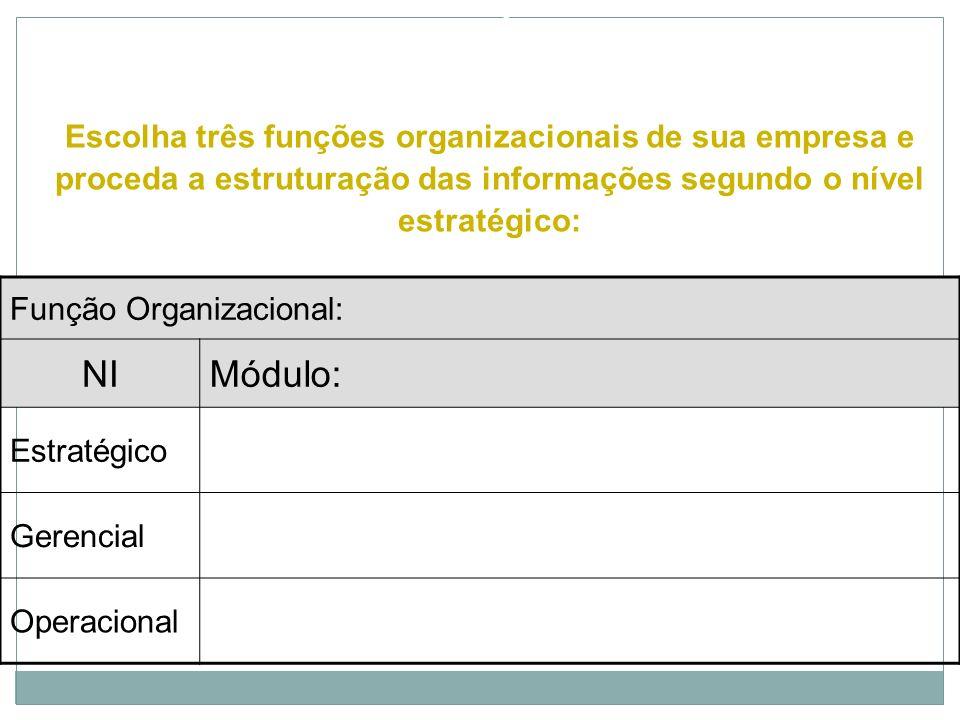 EXERCÍCIOEscolha três funções organizacionais de sua empresa e proceda a estruturação das informações segundo o nível estratégico: