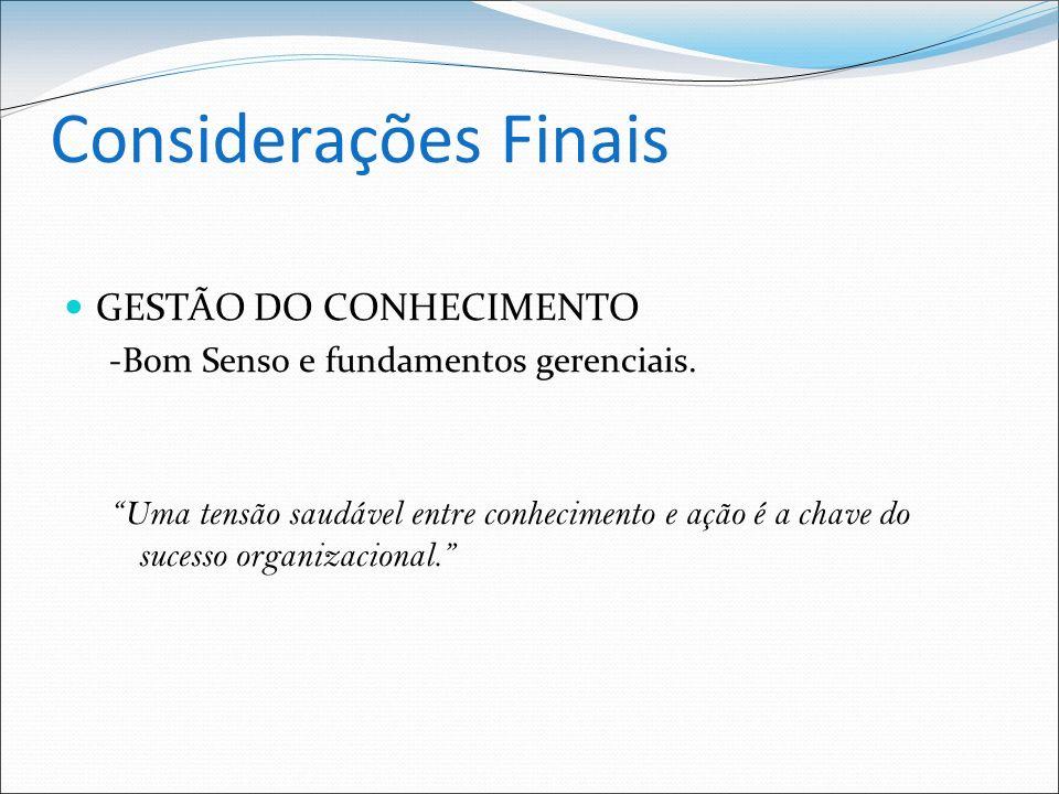 Considerações Finais GESTÃO DO CONHECIMENTO