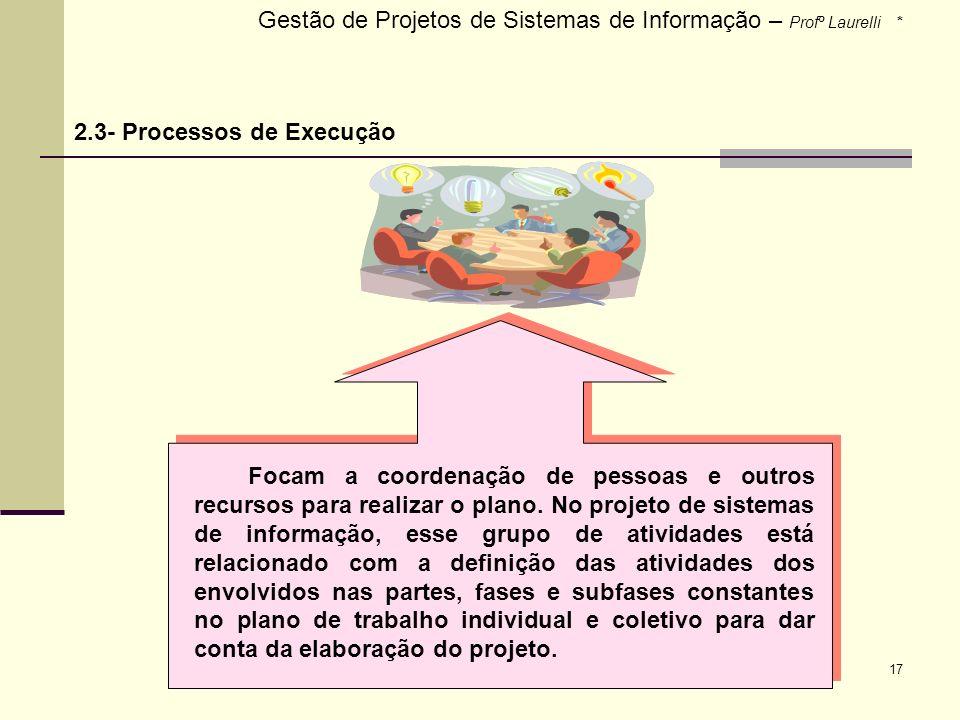 Gestão de Projetos de Sistemas de Informação – Profº Laurelli *