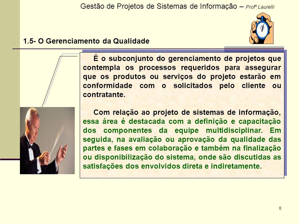 Gestão de Projetos de Sistemas de Informação – Profº Laurelli