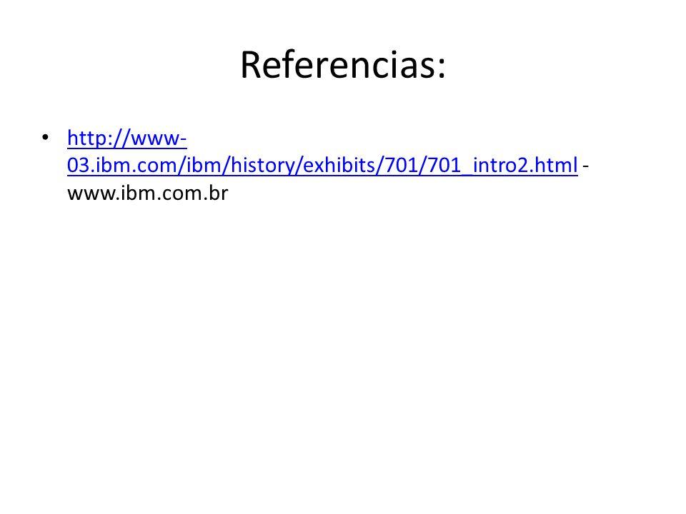 Referencias: http://www-03.ibm.com/ibm/history/exhibits/701/701_intro2.html -www.ibm.com.br