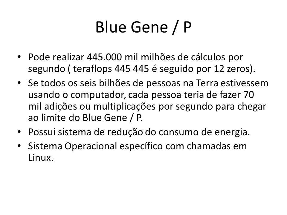 Blue Gene / P Pode realizar 445.000 mil milhões de cálculos por segundo ( teraflops 445 445 é seguido por 12 zeros).
