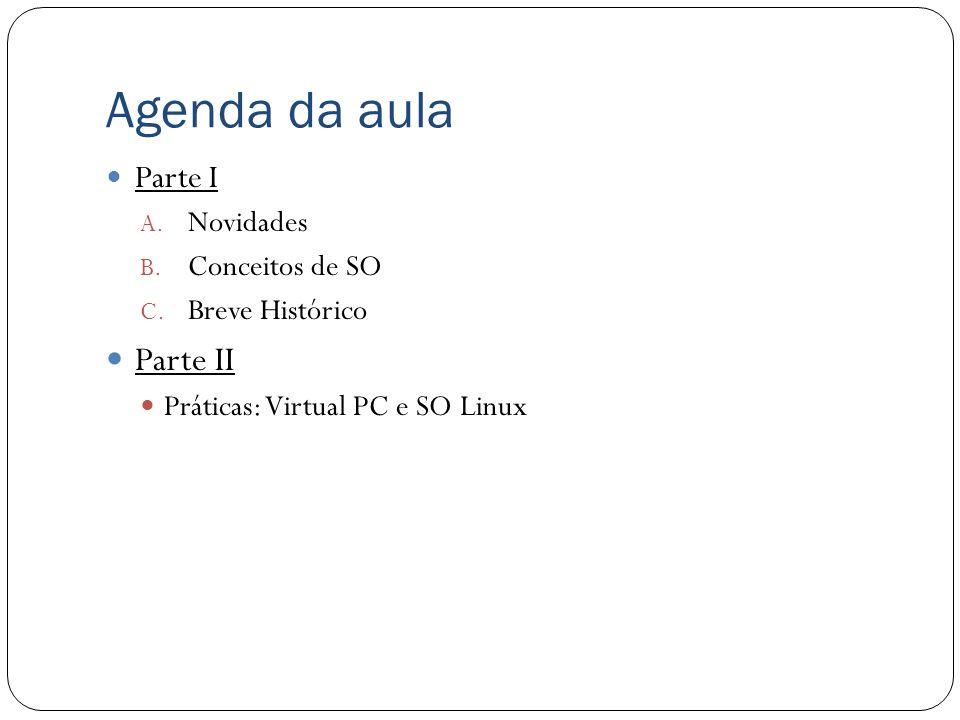 Agenda da aula Parte II Parte I Novidades Conceitos de SO