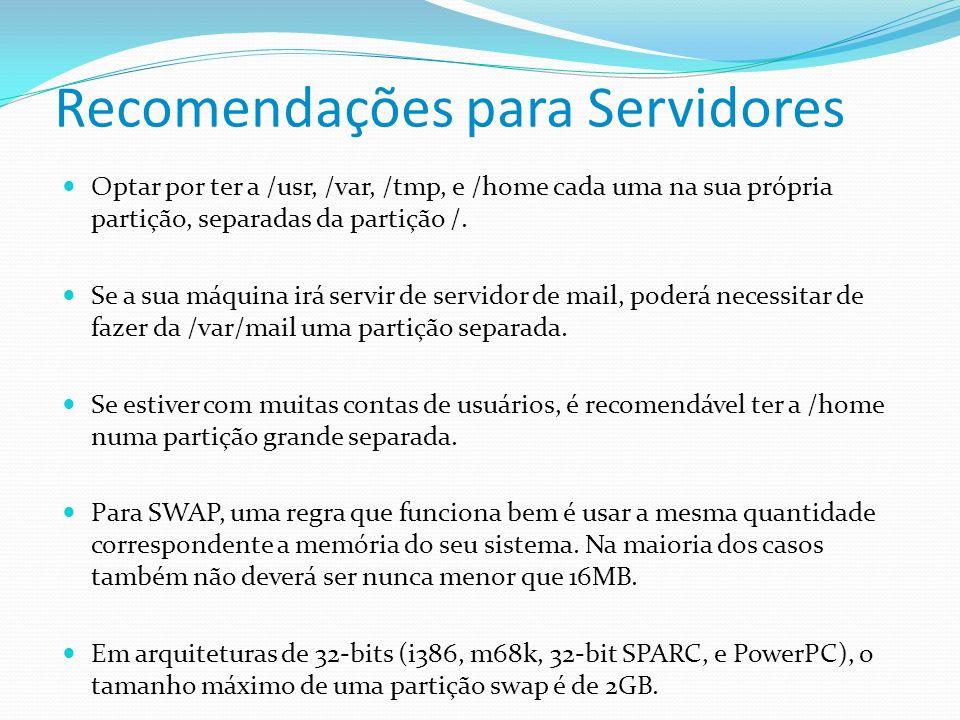 Recomendações para Servidores