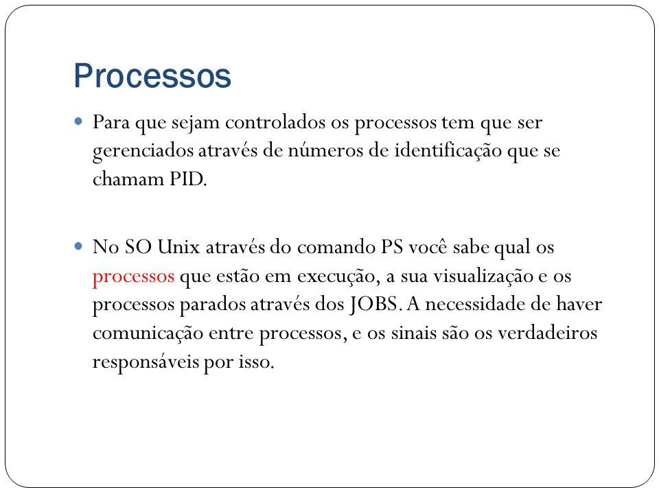 Processos Para que sejam controlados os processos tem que ser gerenciados através de números de identificação que se chamam PID.