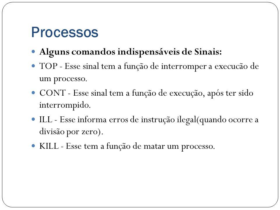 Processos Alguns comandos indispensáveis de Sinais: