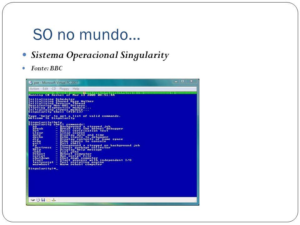 SO no mundo... Sistema Operacional Singularity Fonte: BBC