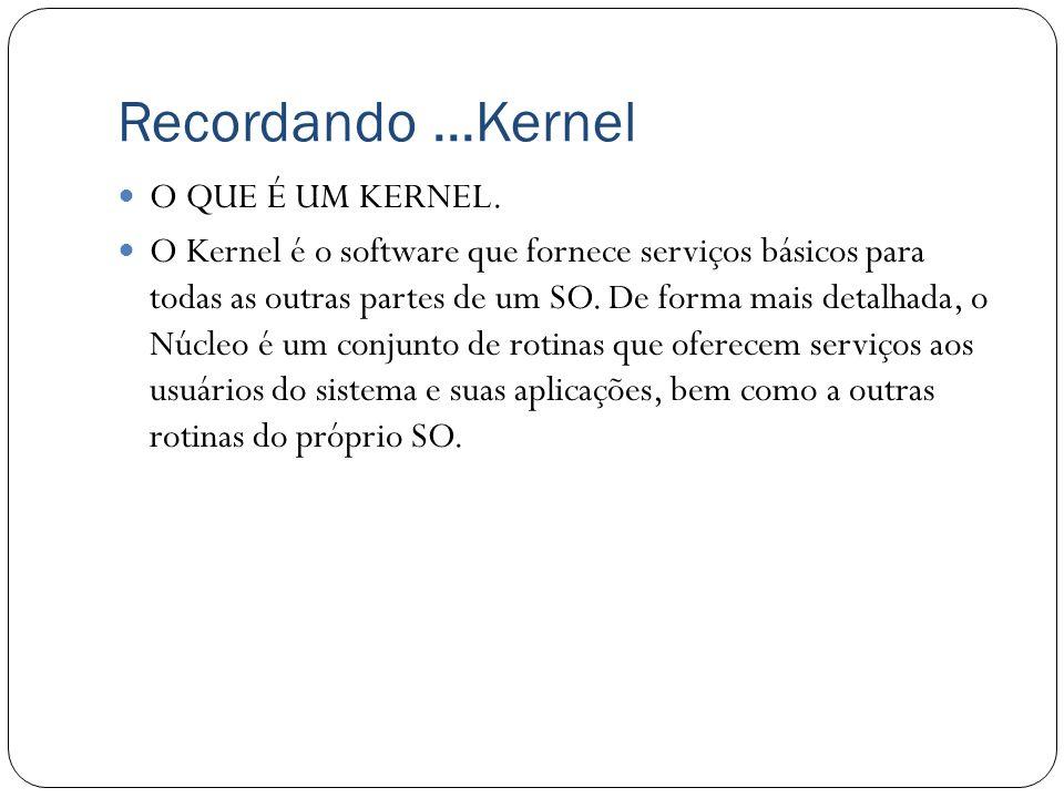 Recordando ...Kernel O QUE É UM KERNEL.