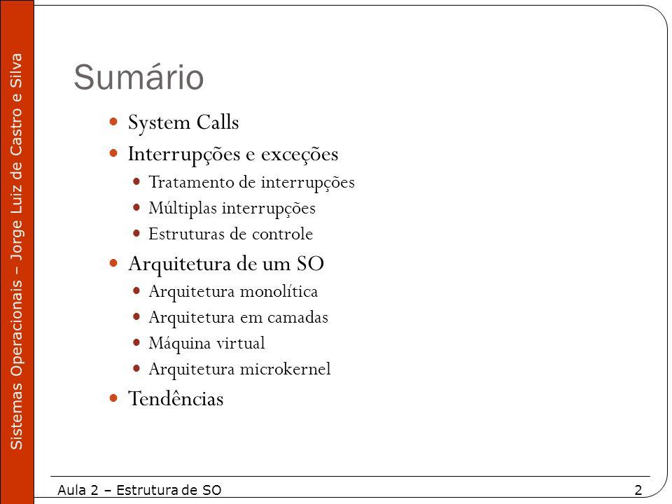 Sumário System Calls Interrupções e exceções Arquitetura de um SO