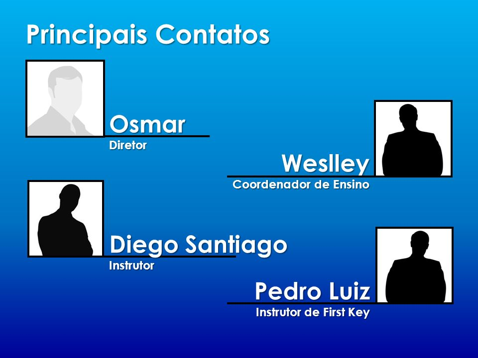 Principais Contatos Osmar Weslley Diego Santiago Pedro Luiz Diretor
