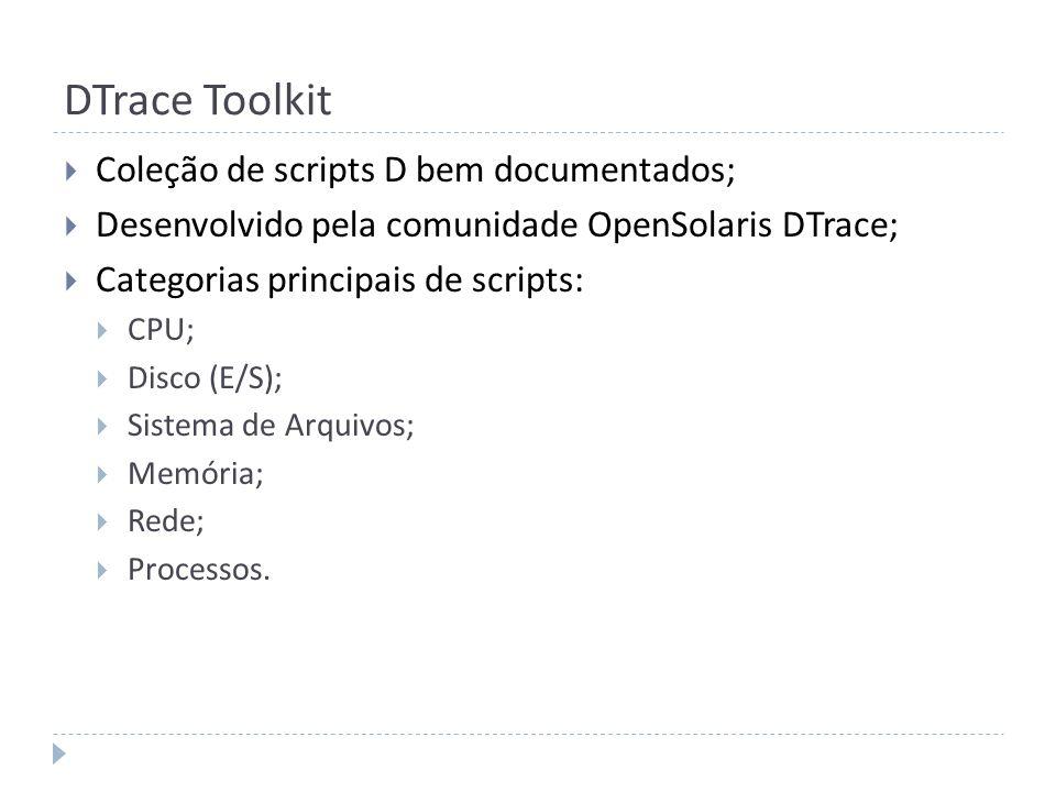 DTrace Toolkit Coleção de scripts D bem documentados;