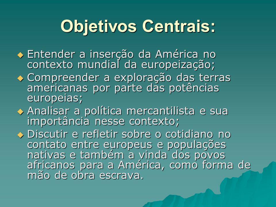 Objetivos Centrais: Entender a inserção da América no contexto mundial da europeização;