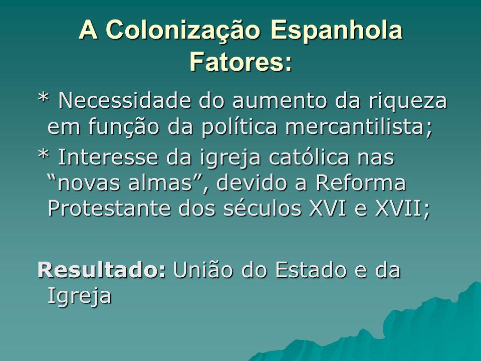 A Colonização Espanhola Fatores: