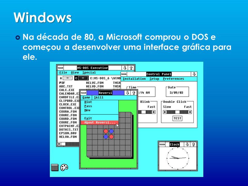 Windows Na década de 80, a Microsoft comprou o DOS e começou a desenvolver uma interface gráfica para ele.