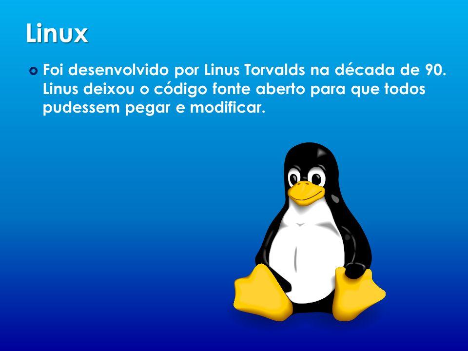 Linux Foi desenvolvido por Linus Torvalds na década de 90.