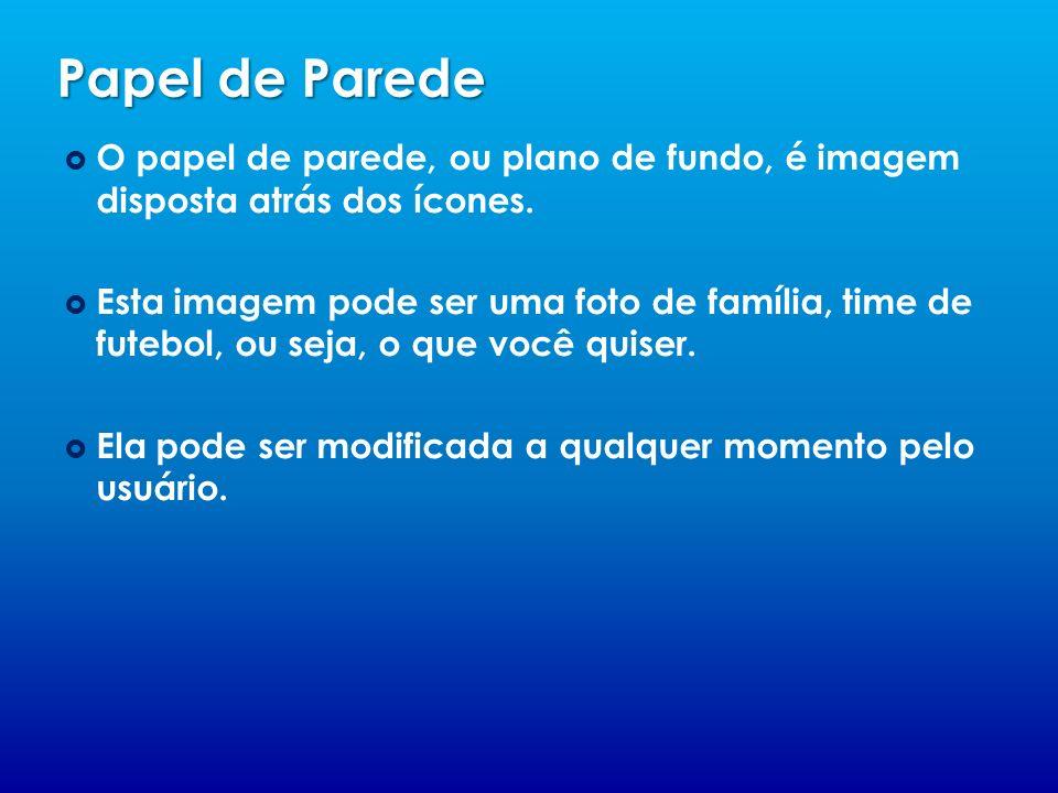 Papel de ParedeO papel de parede, ou plano de fundo, é imagem disposta atrás dos ícones.