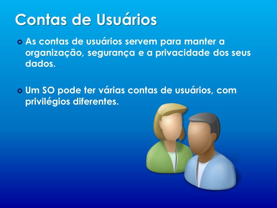 Contas de Usuários As contas de usuários servem para manter a organização, segurança e a privacidade dos seus dados.