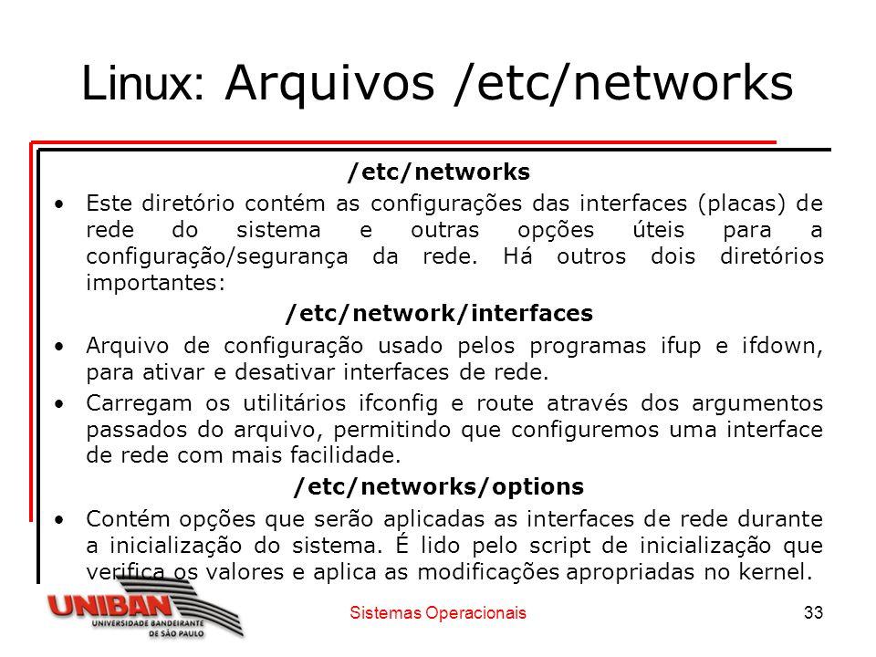 Linux: Arquivos /etc/networks