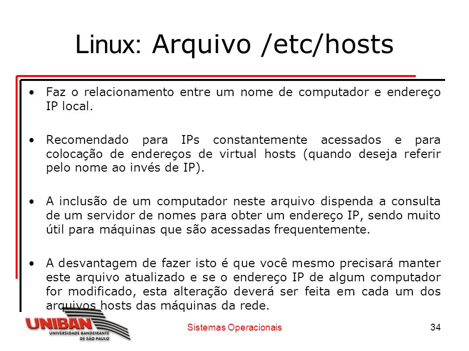 Linux: Arquivo /etc/hosts