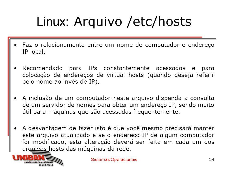 Linux: Arquivo /etc/hosts