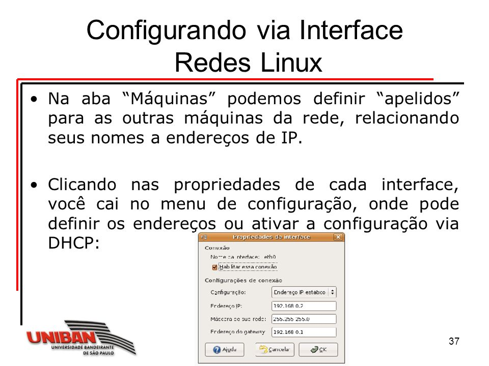 Configurando via Interface Redes Linux